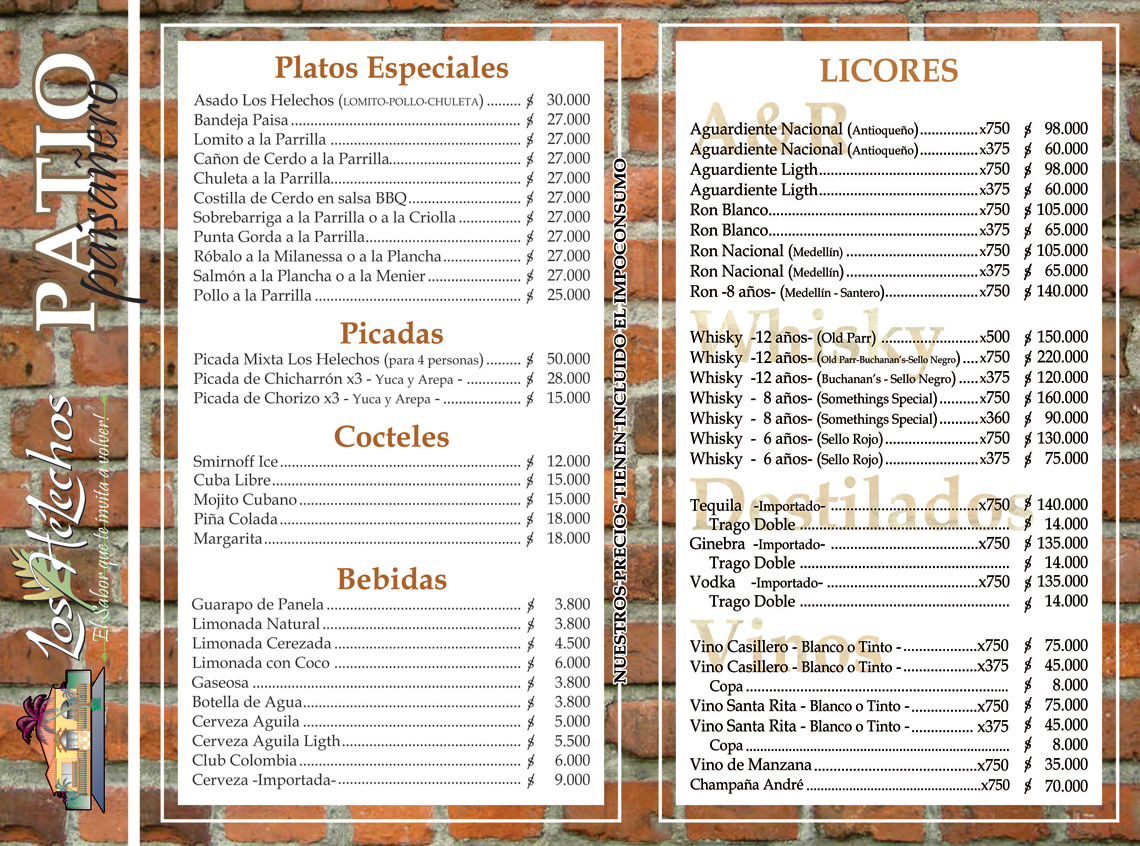 Carta Patio Restaurante Los Helechos 2017
